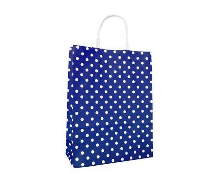 Papírová taška modrá s puntíkem 240x310x100mm
